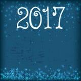 Nieuwe jaaruitnodiging Sneeuwvlokken, 2017 Stock Fotografie