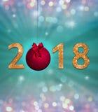 Nieuwe jaarviering achtergrond met kleurrijke partijlichten, de gouden, fonkelende tekst van 2018 royalty-vrije illustratie