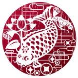 Nieuwe jaarvissen in grungestijl voor het vieren CNY Royalty-vrije Stock Foto