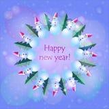 Nieuwe jaarvooravonden snowmans Royalty-vrije Stock Foto's