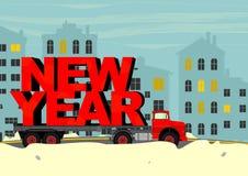Nieuwe jaarvrachtwagen royalty-vrije illustratie