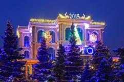 Nieuwe jaren lichte registratie van buildingÑ  Stock Foto