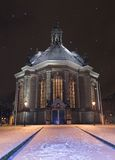 Nieuwe Kerk Den Haag covered in snow at night, while snowing. The new church in the Hague / Nieuwe Kerk Den Haag covered in snow at night, while snowing. This stock photo