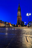 Nieuwe Kerk (igreja nova) na louça de Delft na noite Fotos de Stock Royalty Free