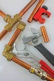 Nieuwe koperbuisleidingen klaar voor bouw Royalty-vrije Stock Afbeelding