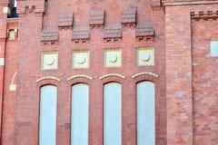 Nieuwe kracht gegeven baksteengebouwen stock foto's