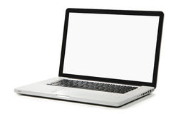 Nieuwe laptop met het witte scherm op een witte achtergrond Stock Afbeelding