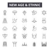 Nieuwe leeftijd en etnische lijnpictogrammen, tekens, vectorreeks, lineair concept, overzichtsillustratie royalty-vrije illustratie