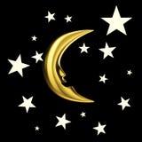 Nieuwe maan in de hemel met sterren Stock Foto