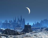 Nieuwe Maan over Blauwe Planeet stock illustratie