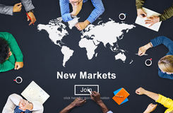 Nieuwe Marktenhandel die Globaal Bedrijfs Marketing Concept verkopen Stock Afbeeldingen