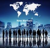 Nieuwe Marktenhandel die Globaal Bedrijfs Marketing Concept verkopen Royalty-vrije Stock Afbeeldingen