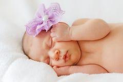 Nieuwe meisje van de portret het gelukkige baby - geboren slaap met purpere bloem Stock Foto