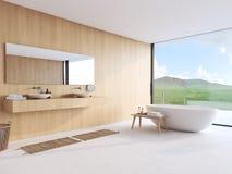 Nieuwe moderne badkamers met een aardige mening het 3d teruggeven Stock Foto