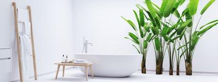 Nieuwe moderne zenbadkamers met tropische installaties het 3d teruggeven Stock Afbeelding