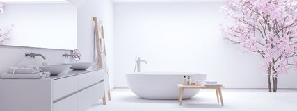Nieuwe moderne zenbadkamers met witte muur het 3d teruggeven Royalty-vrije Stock Afbeeldingen