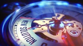Nieuwe Oplossing - Inschrijving op Horloge 3D Illustratie Stock Foto's