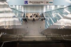 Nieuwe post Hafencity in Hamburg Stock Afbeeldingen