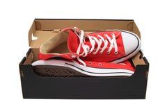 Nieuwe schoenen in abox Stock Foto