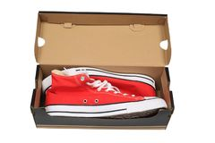 Nieuwe schoenen in abox Royalty-vrije Stock Foto's