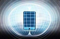 Nieuwe slimme die telefoon in energiecapsule als wetenschapsproject wordt geplakt Royalty-vrije Stock Afbeelding