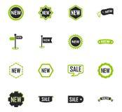 Nieuwe stiker en etiket vastgestelde pictogrammen Stock Foto's