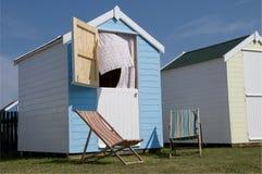 Nieuwe Strandhutten in Southwold, Suffolk, Engeland. Stock Foto's