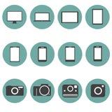 Nieuwe Technologie de Pictogrammen van verschillende media Geplaatst in stijl F Stock Foto