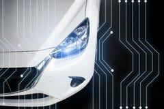 Nieuwe technologie van het auto de moderne voertuig in onscherpe toonzaal royalty-vrije stock fotografie