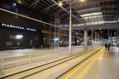 Nieuwe tramlijn in tunnel in Poznan, Polen Royalty-vrije Stock Foto