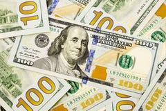 Nieuwe uitgave 100 dollarsbankbiljetten, munt voor inflatie en eco Stock Fotografie