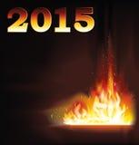 Nieuwe van de het Jaarbrand van 2015 de vlamachtergrond Royalty-vrije Stock Fotografie