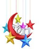 Nieuwe van de jaar 2017 maan en ster vorm stock illustratie