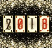 Nieuwe van het de pookjaar van 2018 de uitnodigingskaart, vector Stock Foto's