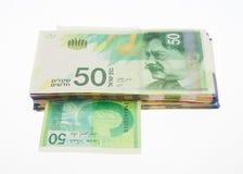 Nieuwe vijftig sjekelsnota's Royalty-vrije Stock Foto's