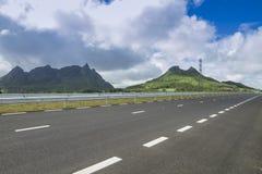 Nieuwe weg in Mauritius stock afbeeldingen