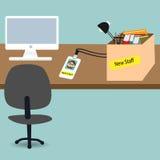 Nieuwe werknemer in het bureau voor nieuwe baan royalty-vrije illustratie