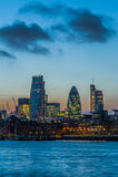 Nieuwe wolkenkrabbers van de Stad van Londen bij zonsondergang 2014 Stock Foto's