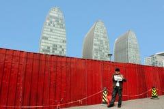 Nieuwe wolkenkrabbersgebouwen in Peking China Stock Foto's