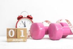 Nieuwe Year' s uit te werken resoluties, gezond levensstijl en dieet c stock afbeelding