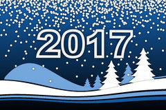 Nieuwe Year& x27; s kaart en het teken van 2017 Royalty-vrije Stock Foto's