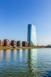 Nieuwe zetel van de Europese Centrale Bank in Frankfurt Stock Fotografie