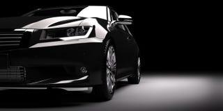 Nieuwe zwarte metaalsedanauto in schijnwerper Het moderne brandless desing,