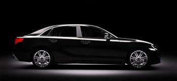 Nieuwe zwarte metaalsedanauto in schijnwerper Het moderne desing, brandl vector illustratie
