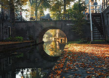 Nieuwegracht with its arched bridges in the old town of Utrecht. Stock Images