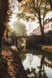 Nieuwegracht with its arched bridges in the old town of Utrecht. Stock Photo