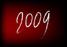 Nieuwjaar 2009 op Rood Stock Afbeelding