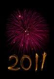 Nieuwjaar 2011 sterretjes en magenta vuurwerk Stock Foto