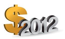 NIEUWJAAR 2012 en dollarteken Stock Afbeelding