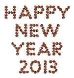 Nieuwjaar 2013 gemaakt van koffie Stock Foto's